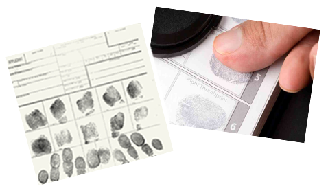 Traditional FBI Ink Card Fingerprinting