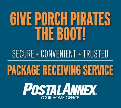 Give porch pirates the boot! Secure. Convenient. Trusted. Package receiving service. Postal Annex Your Home Office.