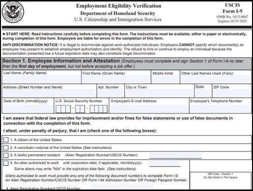 Form I-9 Employment Verification